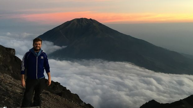 Barry Dunning on Mount Merapi.