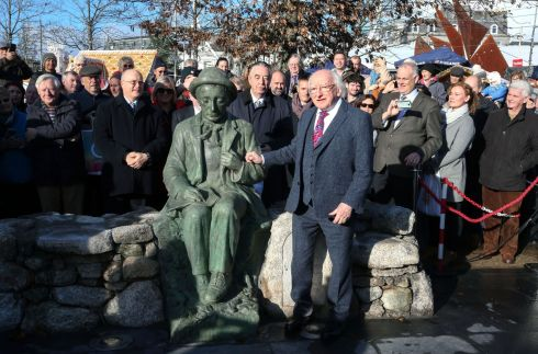 SPITTING IMAGE: President Michael D Higgins speaking after he officially unveiled a bronze replica of Albert Power's original sculpture of the Pádraic Ó Conaire statue in John F Kennedy Memorial Park at Eyre Square. Photograph: Joe O'Shaughnessy
