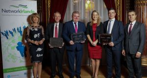 At the awards in Paris: Irish Ambassador Patricia O'Brien; Peter Lunden-Welden, CEO of Transdev Ireland; John Mullins, CEO of Amarenco; Minister of State for European Affairs  Helen McEntee; Joël Depernet, SVP Global R&D Axway; and French ambassador Stéphane  Crouzat.