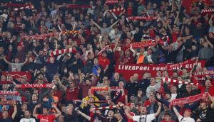 Liverpool fans during Tuesday's Champions League clash with Sevilla. Photo: Getty Images