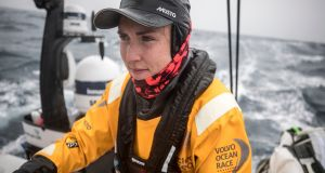 Ireland's Annalise Murphy on Turn the Tide on Plastic during the second leg of the Volvo Ocean Race from Lisbon to Cape Town. Photograph: Sam Greenfield/Volvo Ocean Race