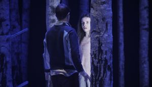 Craig Connolly (Oskar) and Katie Honan (Eli) in Let the Right One In at the Abbey Theatre. Photograph: Ros Kavanagh.