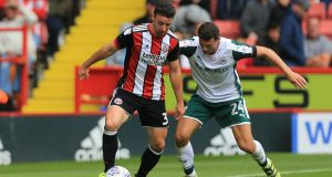 Enda Stevens in action for Sheffield United under pressure from Matty Pearson of Barnsley. Photograph: Mark Cosgrove/Action Plus via Getty Images