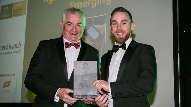 John Durkan, Head of Sustainability, ABP Food Group, presents the Agribusiness of the Year – Emerging award to James Greevy, Herdwatch