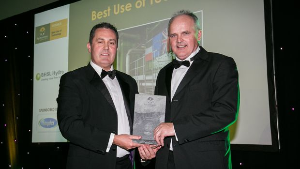 David McMahon, CEO, Emydex Technology, presents the Best Use of Technology award to Jack O'Connor, BHSL Hydro
