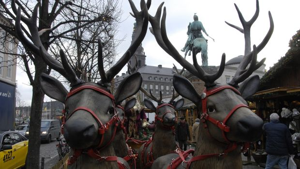The Christmas market at Hojbroplads in Copenhagen. Photograph: Francis Joseph Dean/Deanpictures