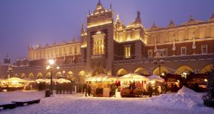 The Christmas market in Krakow takes place in the mammoth central square, Rynek Glowny, in the middle of its atmospheric Old Town.