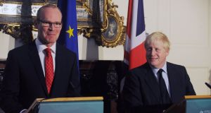 Minister for Foreign Affairs  Simon Coveney and British foreign secretary  Boris Johnson in Dublin  discussing  Brexit. The job of governing the country enters a strange limbo land during an election.  Photograph:  EPA/Aidan Crawley
