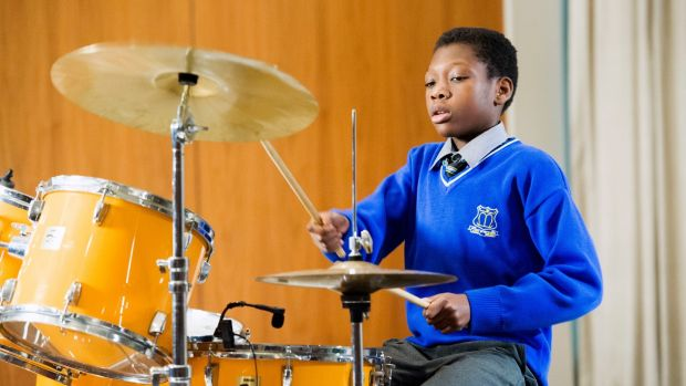 Drummer Jewel Katebe from the North Mon School, Cork city. Photograph: Daragh Mc Sweeney/Provision