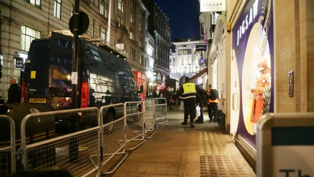The scene outside the London Palladium after Oxford Circus station in London was evacuated. Photograph: Yui Mok/PA