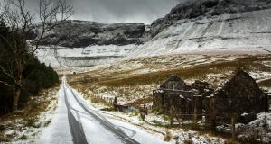 A snow-covered Horseshoe Valley, Ballintrillick, Co Sligo. Photograph: James Connolly
