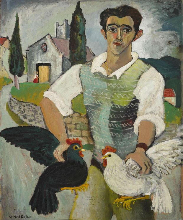 Gerard Dillon's 'Italian with Fowl', estimated at €50,000-€70,000