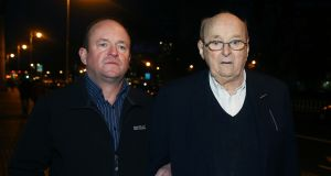 Seamus Ludlow's brother Kevin Ludlow (left) and nephew Thomas Fox outside the Four Courts in Dublin following the ruling on a bid by the family of murdered forestry worker Seamus Ludlow to have the Government set up two  commissions  of inquiry into the 1976 sectarian killing.  Photograph: Brian Lawless/PA Wire