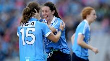 Dublin's Noelle Healy and Lydsey Davey celebrate at the final whistle after the victory over Mayo in the  All-Ireland final  at Croke Park. Photograph: Ryan Byrne/Inpho