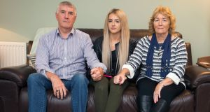 Seeking cold case review: Terry and Noeleen Delaney, with their grand-daughter Megan Delaney (16), whose father Robert Delaney has been in a permanent vegetative state for nearly 10 years. Photograph: Dave Meehan