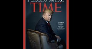 Then US president-elect Donald Trump on the cover of Time magazine last December.   Photograph:  AFP Photo/ TIME, Inc/ Nadav Kander