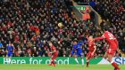 Willian scores Chelsea's  equaliser at Anfield. Photograph: Peter Byrne/PA Wire.