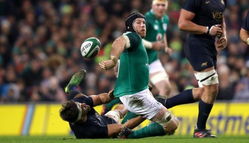 Ireland's Sean O'Brien attempts an offload. Photograph: James Crombie/Inpho