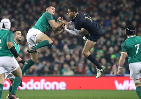 Ireland's Jacob Stockdale challenges for a high ball with Emiliano Boffelli of Argentina. Photograph: Billy Stickland/Inpho