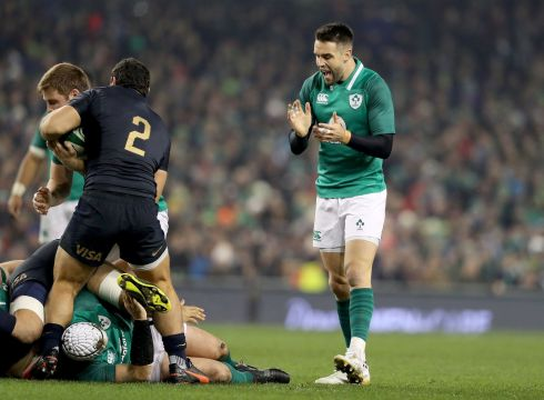 Ireland's Conor Murray celebrates a penalty decision. Photograph: Dan Sheridan/Inpho