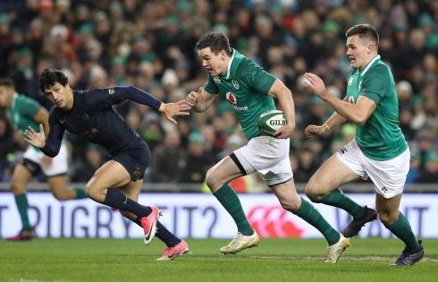 Ireland's Johnny Sexton makes the break before givein a scoring pass to Jacob Stockdale. Photograph: Billy Stickland/Inpho