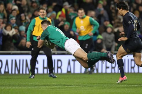 Ireland's Jacob Stockdale scores a try. Photograph: Billy Stickland/Inpho