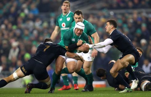 Ireland's Rory Best tackled by Argentina's Marcos Kremer. Photograph: James Crombie/Inpho