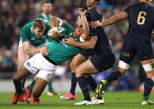 Ireland's Bundee Aki is tackled by Argentina's Santiago Gonzalez Iglesias. Photograph: James Crombie/Inpho
