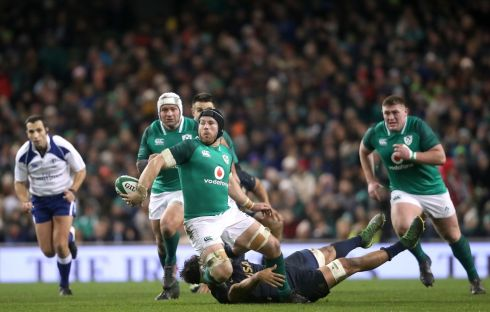 Ireland's Sean O'Brien attempts an offload. Photograph:  Niall Carson/PA Wire