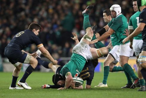 Ireland' Sean O'Brien is tackled by Nicolas Sanchez. Photograph: Billy Stickland/Inpho