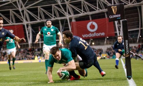 Ireland's Jacob Stockdale scores his second try. Photograph: James Crombie/Inpho
