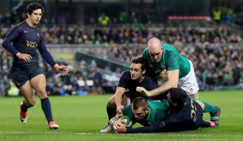 CJ Stander scores Ireland's third try. Photograph: James Crombie/Inpho