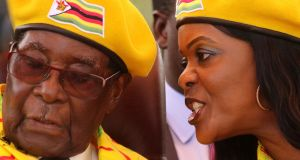 A November 8th photograph of former president Robert Mugabe and wife Grace Mugabe. Photograph: Reuters