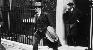 Michael Collins in London during treaty negotiations in  October 1921. Collins, the first and last Irish politician to sign up to a hard border. Photograph: Hulton Archive