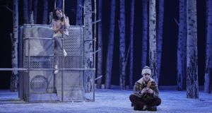 Katie Honan  as Eli and Craig Connolly as Oskar in 'Let the Right One In' at the Abbey Theatre. Photograph: Ros Kavanagh