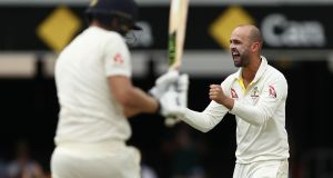 Nathan Lyon took three wickets as England were bowled out for 195 in their second innings. Photograph: Ryan Pierse/Getty