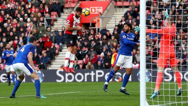 Charlie Austin heads in his second and Southampton's third against Everton
