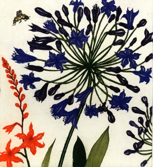 """Agapanthus, Montbretia and a Bee"" by Jean Bardon"