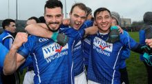 St Lomans' Neil O'Toole, Billy O'Loughlin and David Whelan celebrate their Leinster semi-final win. Photograph: Tommy Grealy/Inpho