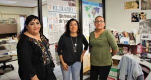 Gabriela Minjares, Araly Castanon  and Luz del Carmen Sosa are all members of the Ciudad Juarez Journalists' Network. Photograph: Stephen Starr