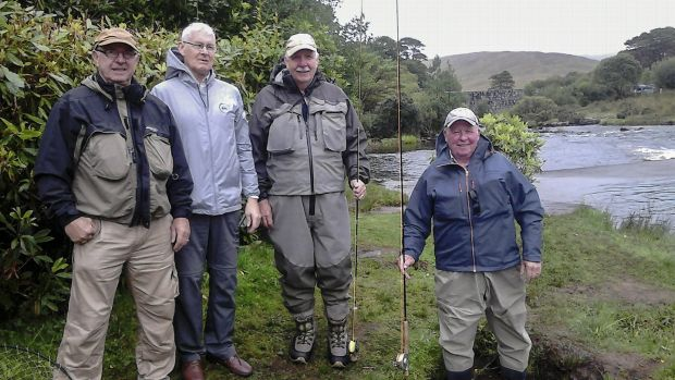 Enjoying their week on the river Erriff, Paddy Donnegan, Mick Vincent, Donal Chambers and Albert Caffrey. Photograph: Osgur Grieve