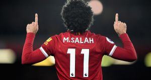 Wide strikers such as Mohamed Salah of Liverpool, above, rarely cross and they shoot at goal as often as traditional centre-forwards. Photograph: Shaun Botterill/Getty Images
