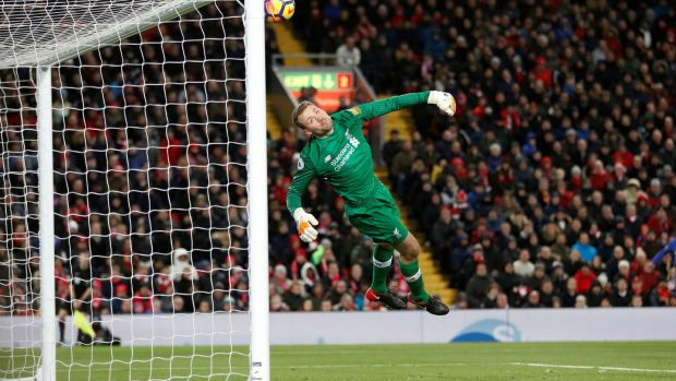 Chelsea's Willian (not pictured) scores their first goal past Liverpool's Simon Mignolet. Photograph: Carl Recine/Reuters
