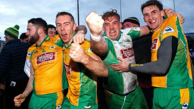 Corofin's Conor Cunningham, Jason Leonard, goalkeeper Bernard Power and Ronan Steede celebrate after their Connacht SFC final win over Castlebar Mitchels. Photograph: James Crombie/Inpho