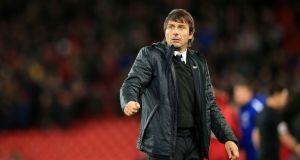 Chelsea manager Antonio Conte. His side find themselves 11 points behind Manchester City following their draw with Liverpool on Saturday and the league leaders' victory over Huddersfield. Photograph: Peter Byrne/PA