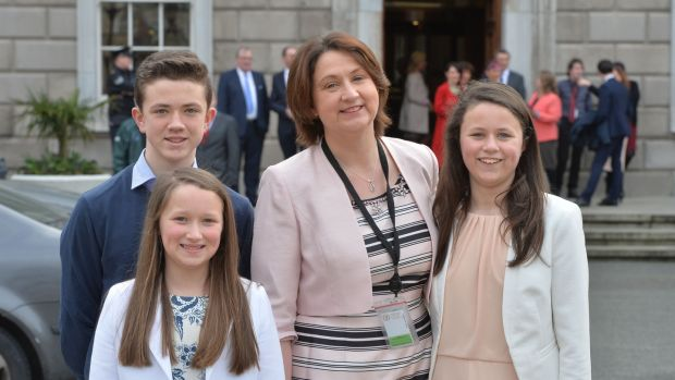 Fianna Fáil TD Anne Rabbitte with her family. 'Personally I would have gone to the country last March when the Tusla file came out'. File photograph: Alan Betson/The Irish Times