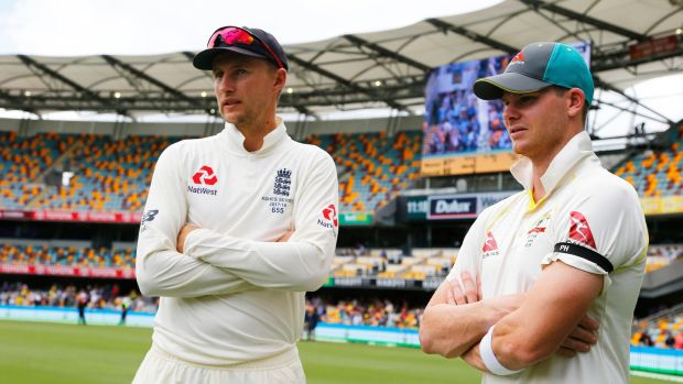 England captain Joe Root with opposite number Steve Smith after Australia's win at the Gabba. Photograph: James O'Brien/PA