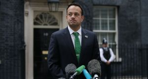 Leo Varadkar briefs the press at 10 Downing Street after meeting with Britain's Prime Minister Theresa May  on September 25, 2017. Photograph: DANIEL LEAL-OLIVAS/AFP/Getty Images