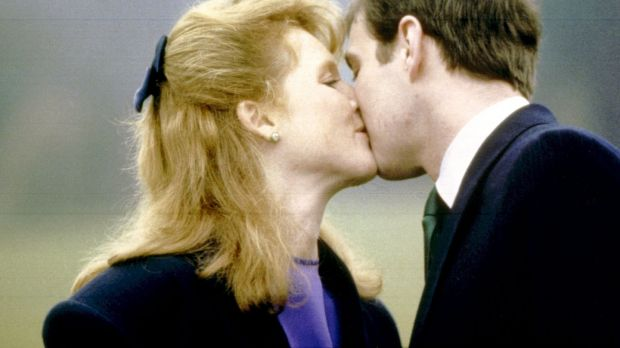 Prince Andrew and Sarah Ferguson at Buckingham Palace, London, after their engagement was announced. Photograph: PA Wire