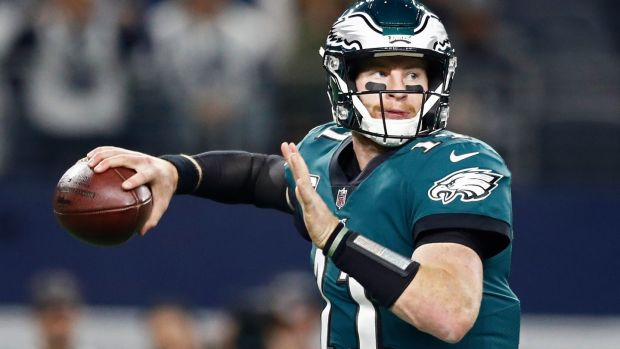 Carson Wentz threw for three touchdowns against Chicago. Photograph: larry W Smith/EPA